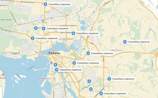 карта Казани с офисами банка