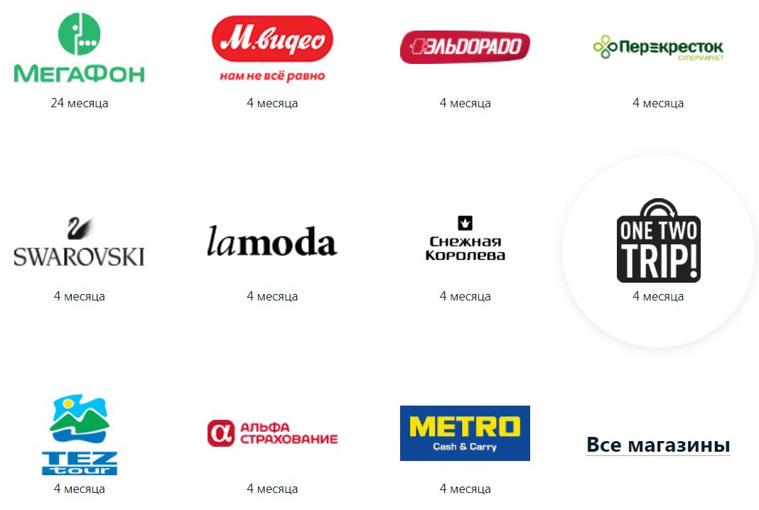 Карта рассрочки Альфа банк Магазины-партнеры